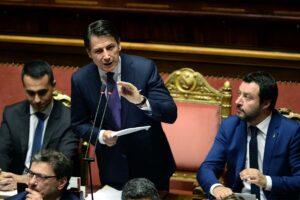 Premier Giuseppe Conte al Senato parla di appalti pubblici