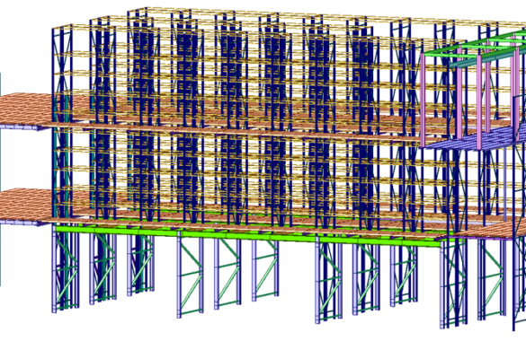 Assonometria strutturale 3d del modello di calcolo agli elementi finiti