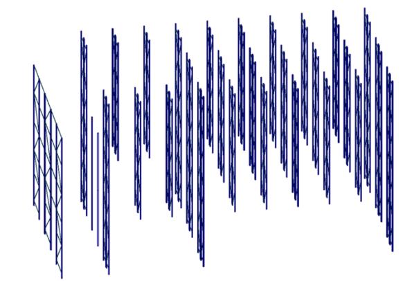 Immagine del modello FEM 3D con indicazione dei telai verticali oggetti di verifica