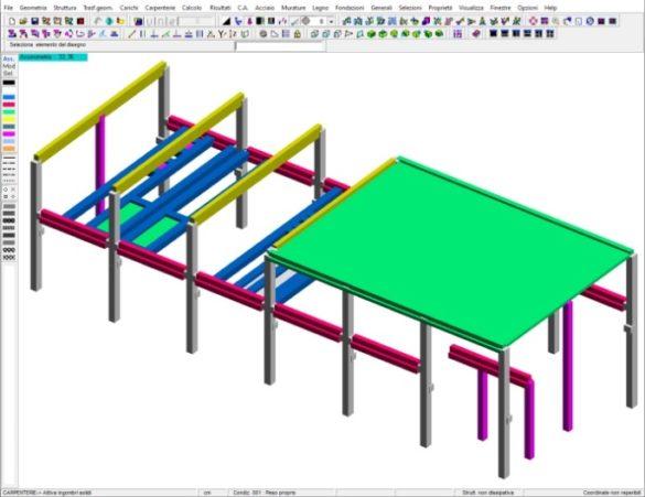 Figura 3 - Modellazione nel CAD 3D Struttura di DOLMEN
